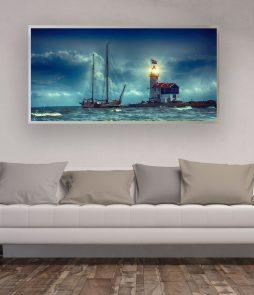 LED Bild Leuchtturm Hafen