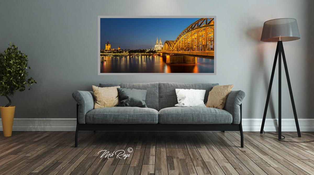 led bild k lner dom rheinufer fineart bild led. Black Bedroom Furniture Sets. Home Design Ideas