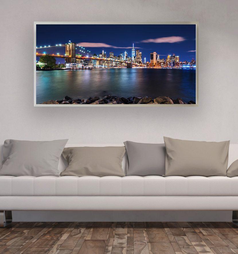 led bild nyc skyline exclusive bilder im deco art shop. Black Bedroom Furniture Sets. Home Design Ideas