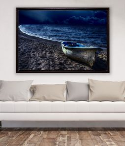 Leinwandbild Blaues Boot