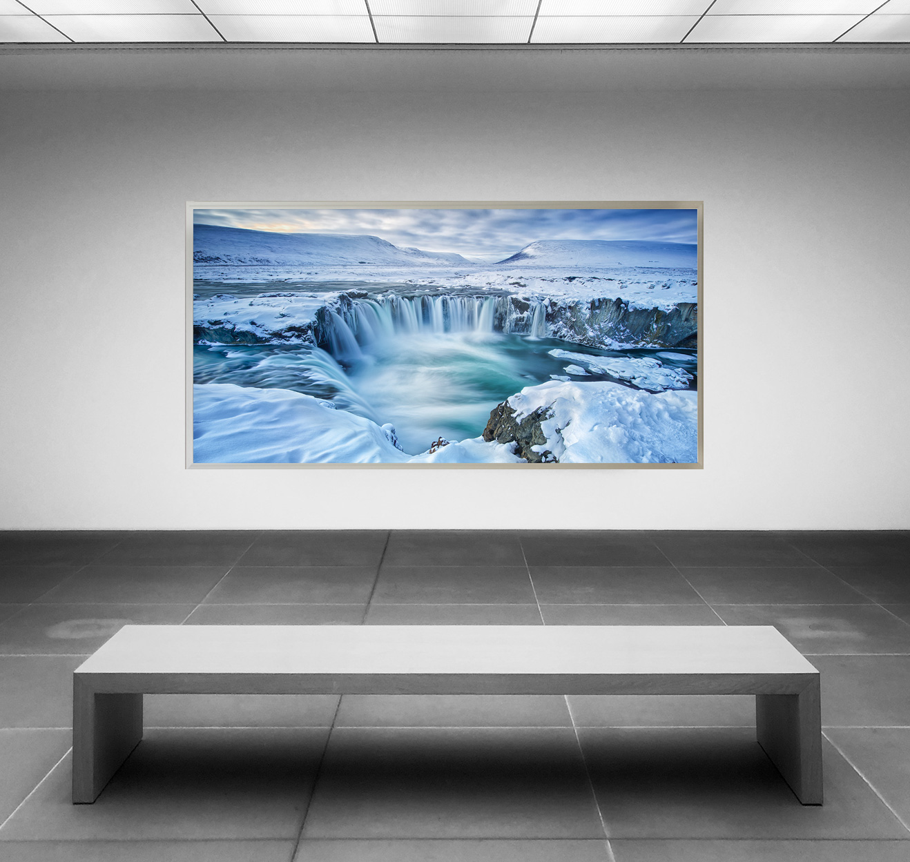 LED Bild Goöfoss Wasserfall Island