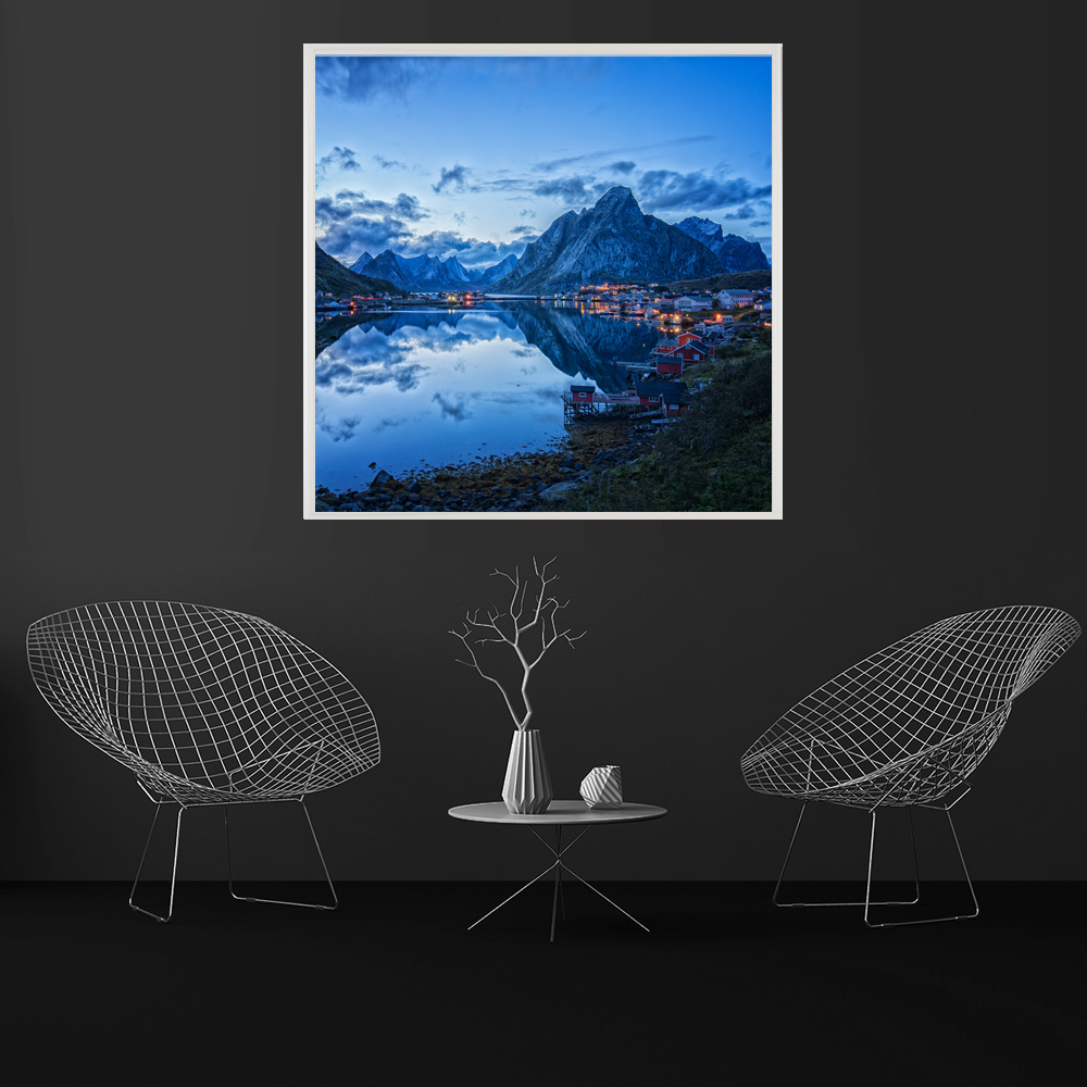LED Bild Lofoten Reine Blue