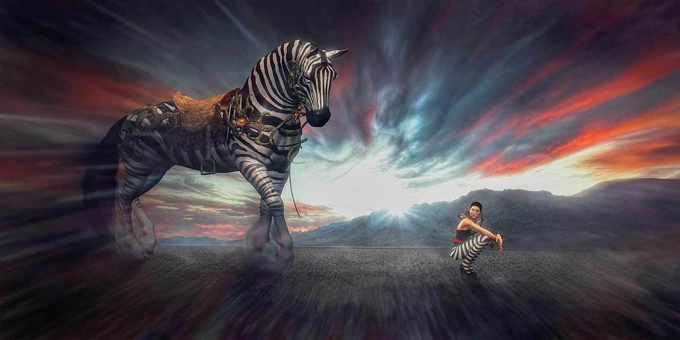 LED Bild Zebra Fantasy
