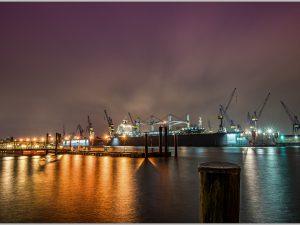LED Bild Hamburger Hafen Docks