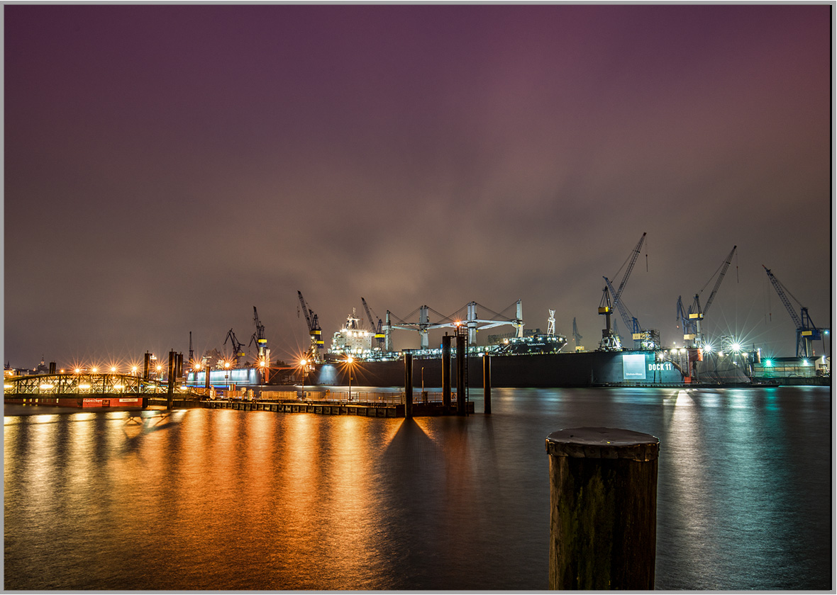 LED Bild Hamburger Hafen Docks
