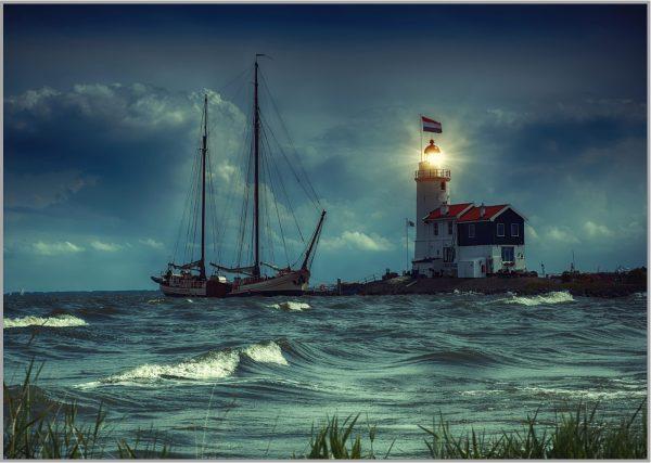LED Bild Leuchtturm Holland