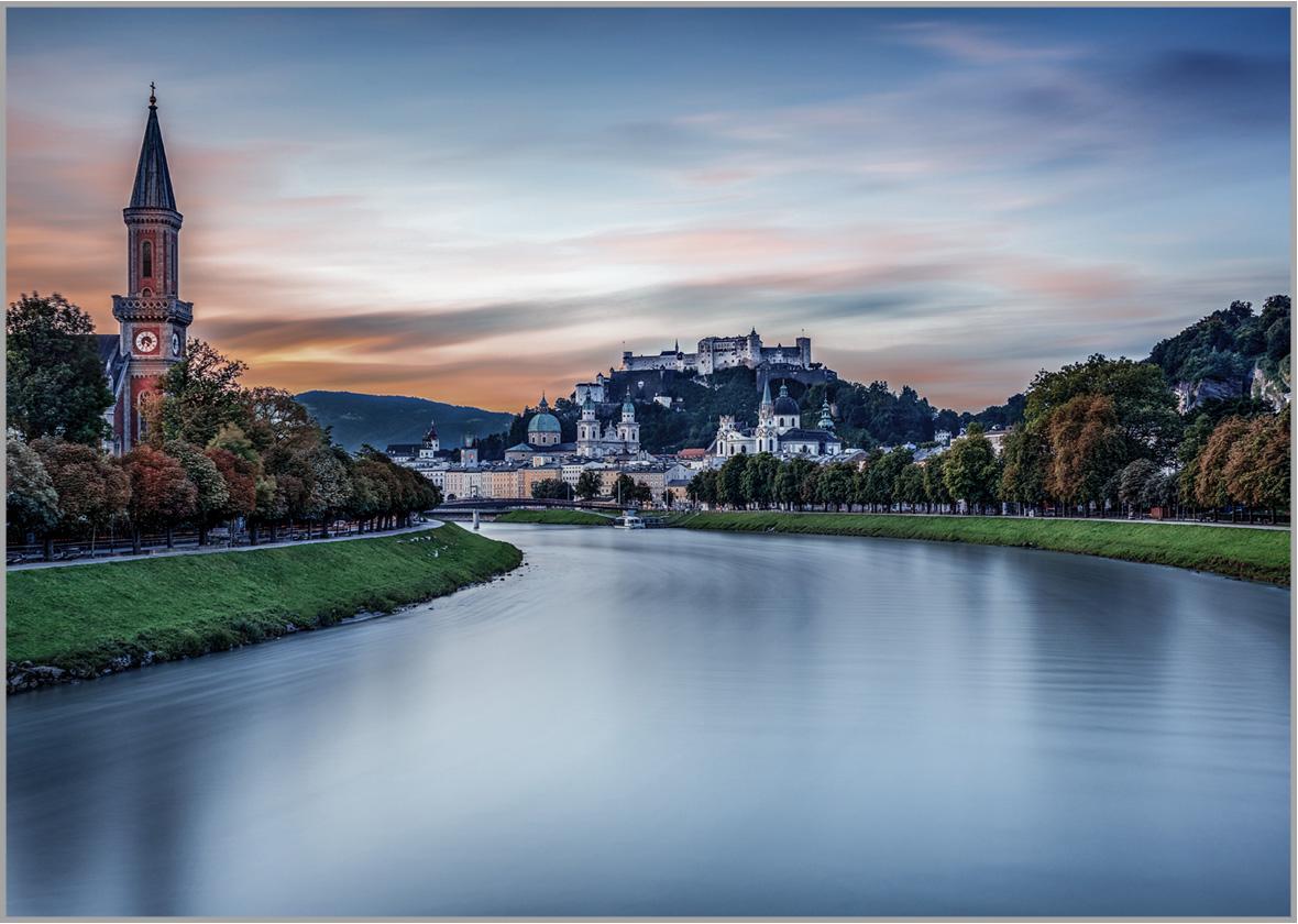 LED Bild Salzburg mit Salzach.