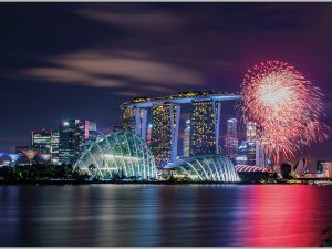 LED Bild Singapur Skyline