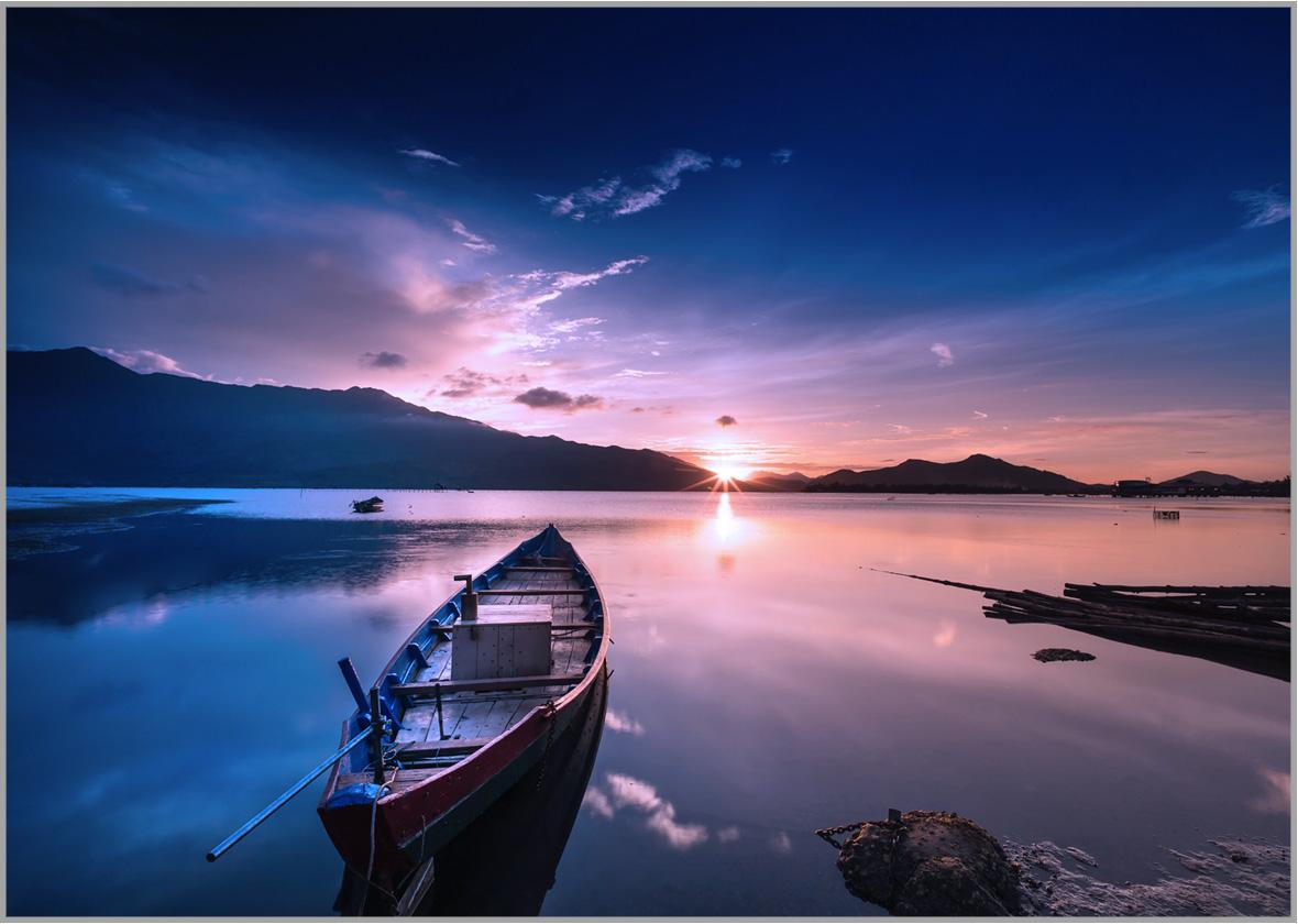 LED Bild Blue Boat