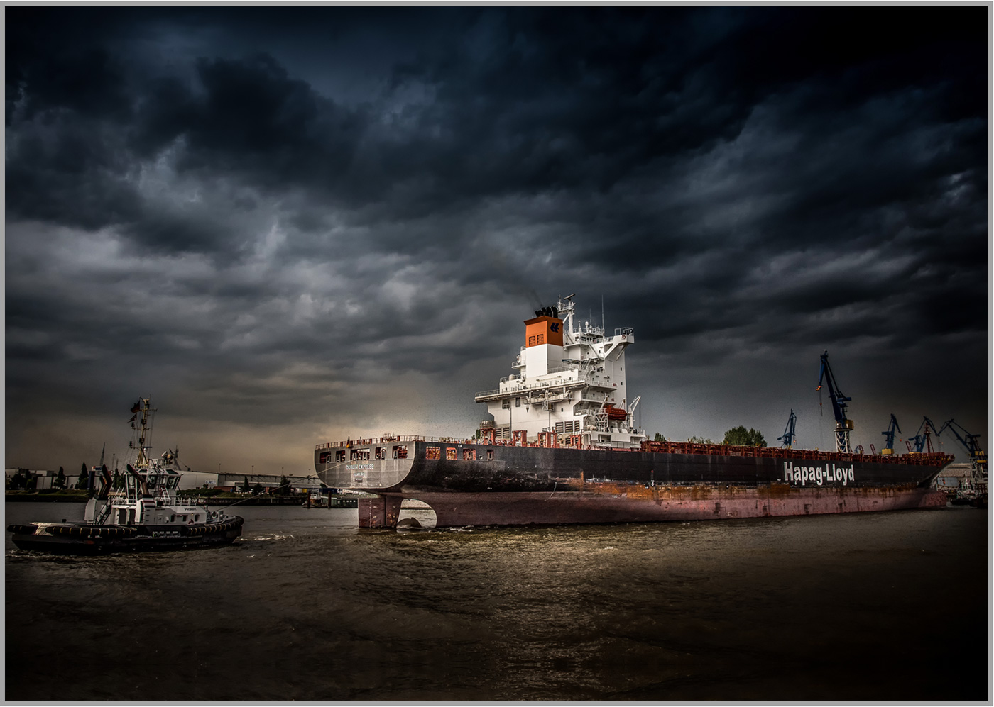 LED Bild Hamburger Hafen