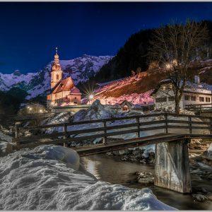 LED Bild Ramsau Nacht