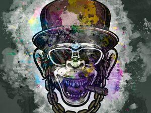 LED Bild Affe Rapper