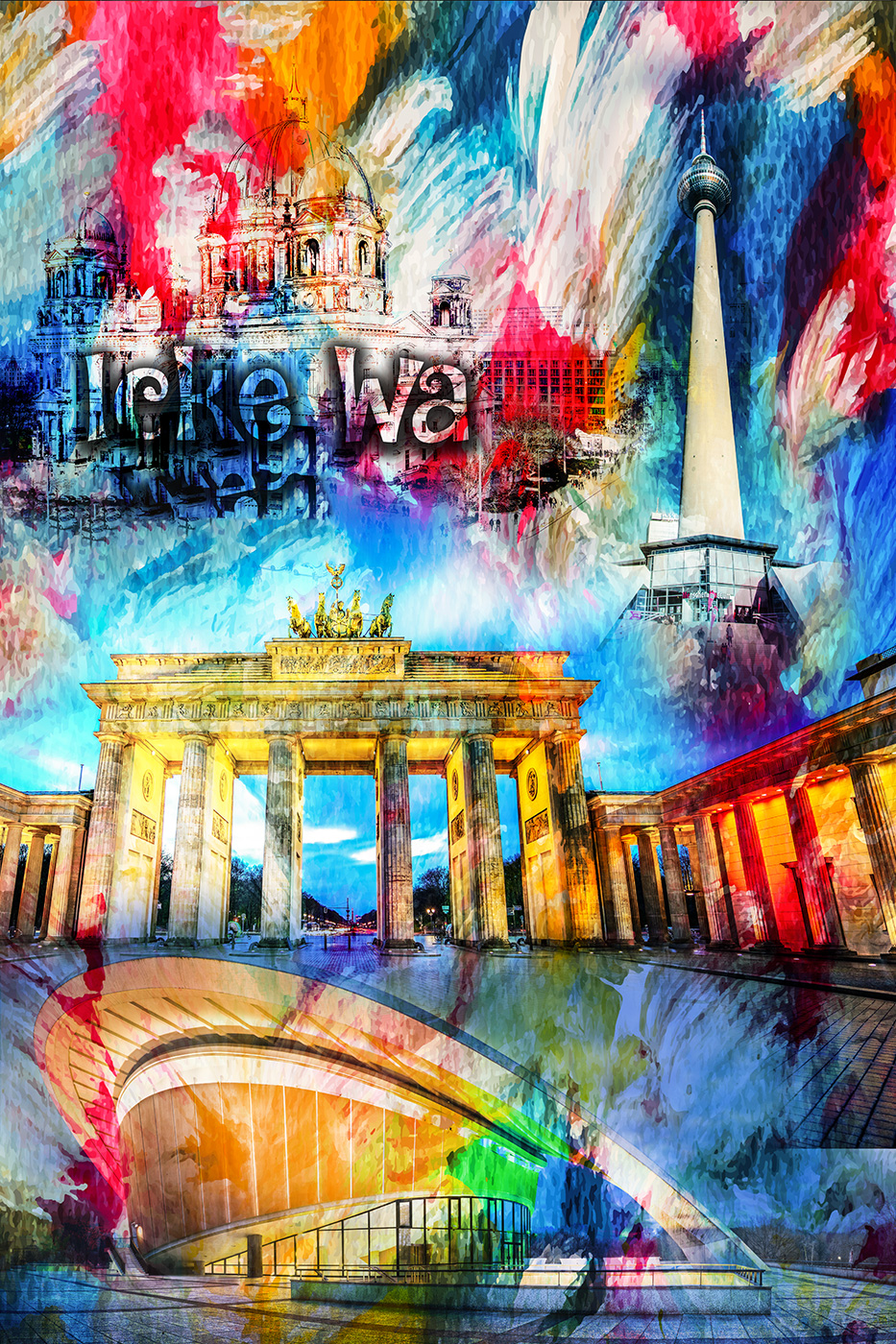 LED Bild Berlin Wall Art