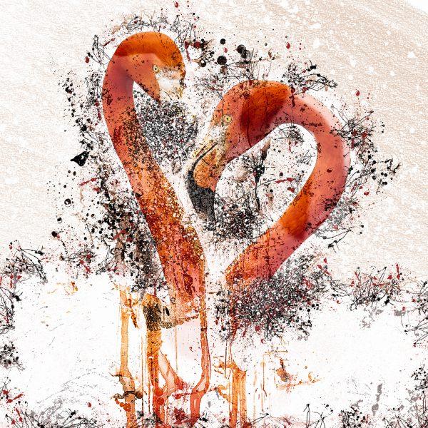 LED Bild Flamingo Love