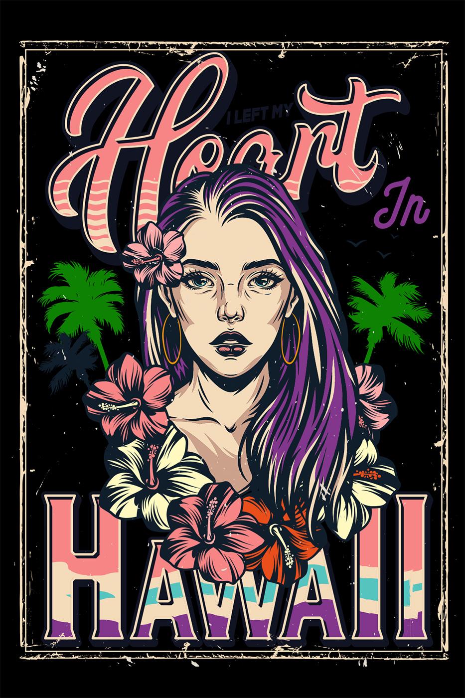 LED Bild Heart Hawaii