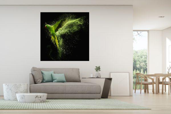 LED Bild Grüner Papagei