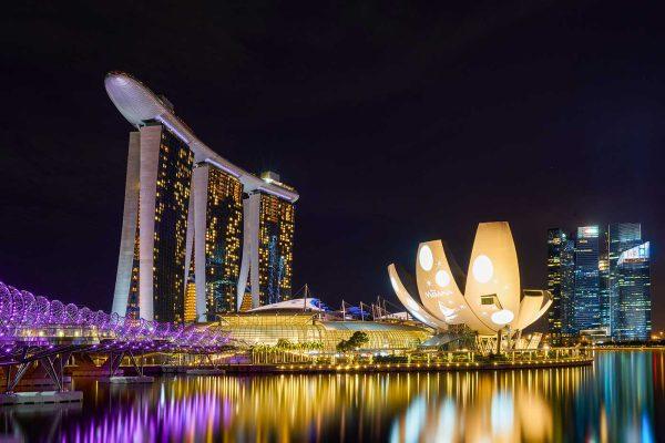 LED Bild Singapur bei Nacht