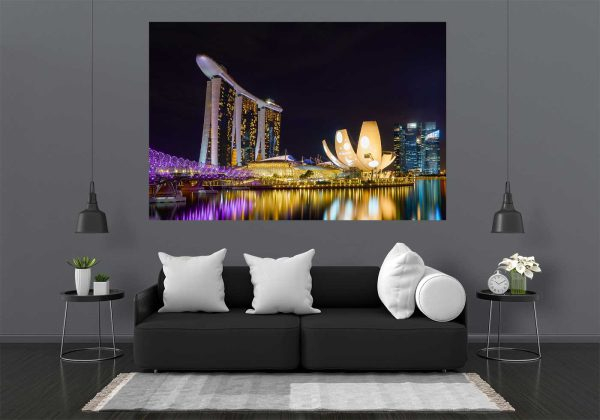 LED Bild Skyline Singapur